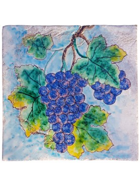 Maiolica tile with grapes