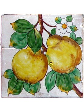 Maiolica tile with Quince fruits