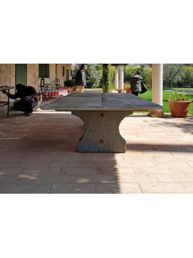 Stone table from 4 m long - original antique - three legs