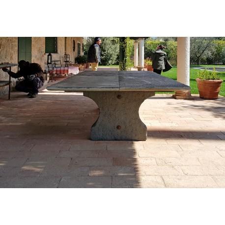Tavolo in pietra da 4 m di lunghezza originale antico - tre gambe