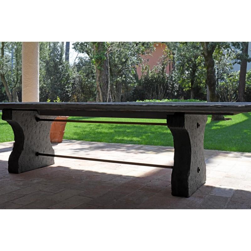 Tavolo in pietra da 310 cm di lunghezza originale antico - due gambe ...