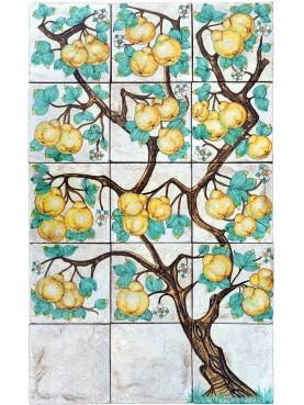 Quince Tree Maiolica Panel