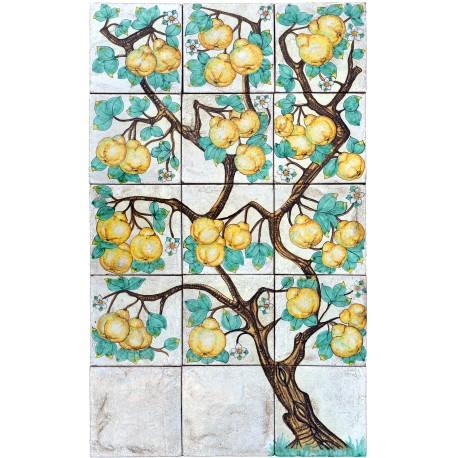 L'albero delle Cotogne Pannello di Maiolica
