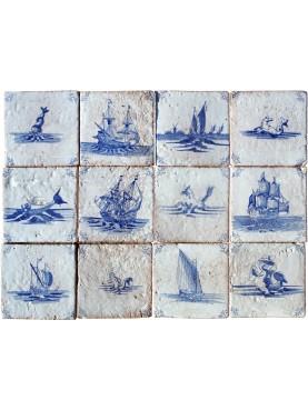 Sea scene - delf tiles panel