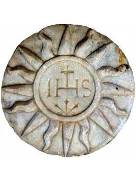 WHITE CARRARA Marble basrelief IHS Iesus Hominum Salvator