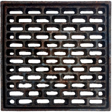 Cast iron grate, air intakes and drains