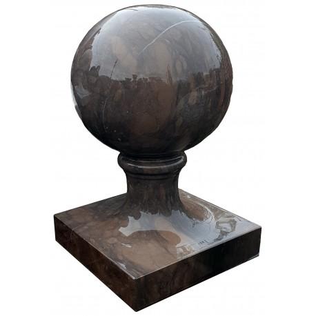 Sfera con base monoblocco Ø 25 cm in pietra marrone