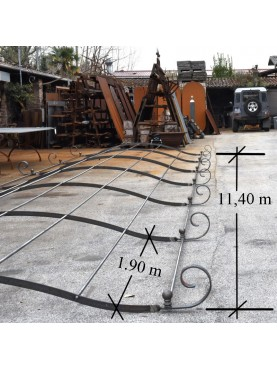 Garden Pergola 11,40 m. long - bersò forged iron big dimensions