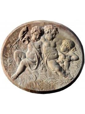 "Terracotta basrelief ""Madonna with three child"""
