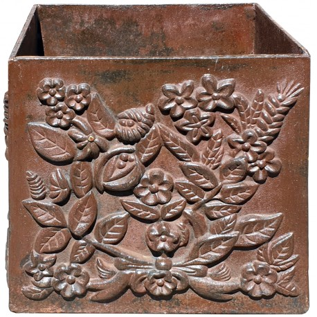 Jardiniere cachepot in ghisa quadra con fioriture liberty