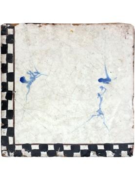 Antica piastrella di maiolica manganese bausilio fabbrica di Napoli