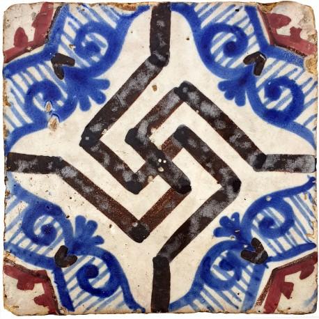 Majolica tile blue and manganese