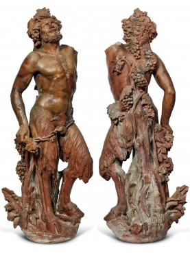 Fauno in terracotta, antica scultura cm 171