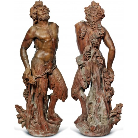 Fauno in terracotta, scultura alt. cm 171