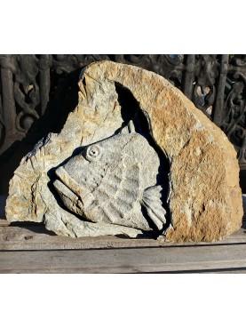 Stone basrelief - mediterranean redfish