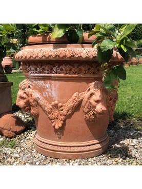 La Conca dei 4 leoni Ø86cm - vaso da limoni in terracotta