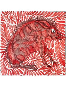 Piastrella di maiolica 20x20 cm Liberty Inglese WILLIAM DE MORGAN