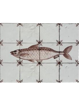 Fishes Dutch majolica panel manganese herring