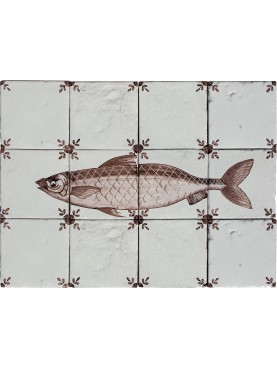 Pannello maiolica manganese pesci aringa Olandese