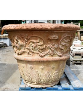 Large ancient terracotta citrus vase - adorned from Impruneta, Florence