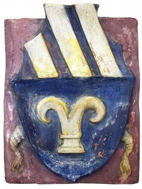 Stemma in maiolica della famiglia CARNESECHI - XIV secolo