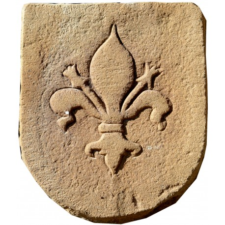 Stone coat of arms with Florence lily