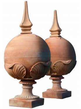 Terracotta sphere with pointed ferrule H.84cms