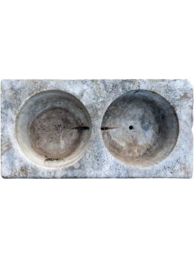 ancient Sink in white Carrara marble - two holes