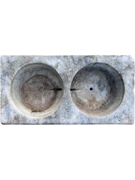 Lavandino in marmo a due buche antico