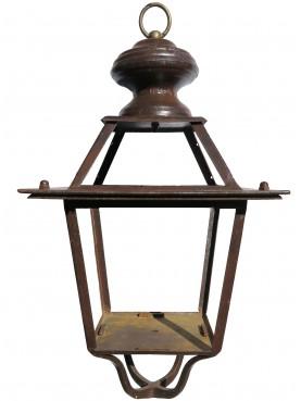Lanterna in ferro Toscana con anello e supporto inferiore