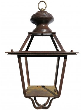 Tuscany forged-iron lantern with ring and lower support