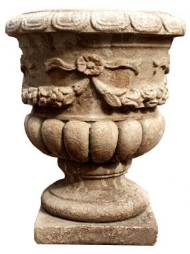Vaso festonato in cemento H48 cm