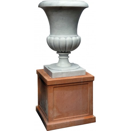Great Medici's White Carrara marble Vase our production