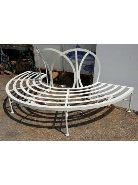 Panchina semicircolare in ferro da albero con spalliera