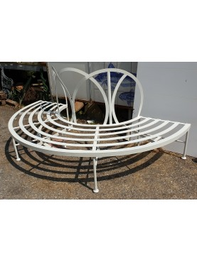 Semicircle forged iron tree bench with espalier
