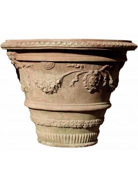 Pair of ancient Tuscan lemon Ø62cms pots in terracotta Medici's vases
