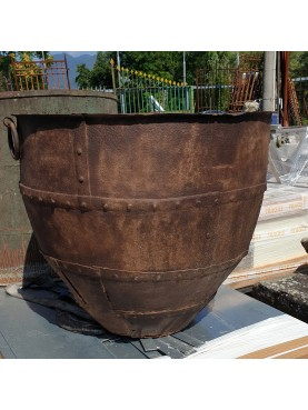 BEAUTIFUL ANCIENT CONTAINER MADE OF SEWED PLATED IRON