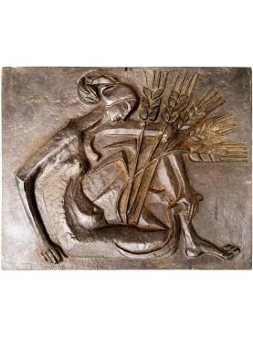 Lastra di camino di epoca decò - donna con il grano - bronzo