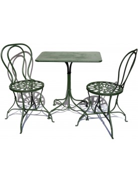 SET TWO CHAIRS AND ONE TABLE ALL FORGED IRON 3 PIECES