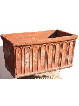 Ancient rectangular flower pot from Tuscany
