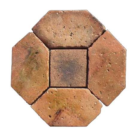 Pavimento a cestello - terracotta antica di recupero tagliata da noi