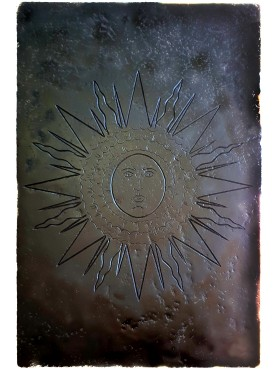 MEDIEVAL sun - engraved sculpture ON BLACK STONE or Slate