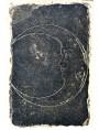 MEDIEVAL MOON- engraved sculpture ON BLACK STONE or Slate
