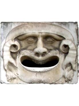 Mascherone in marmo bianco Carrara - copia della famosa maschera pisana