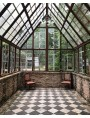 Black slate and white limestone, floor of a greenhouse @obsoleteinc
