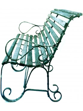 From Villa Siemens - Pair of antique iron and wood benches