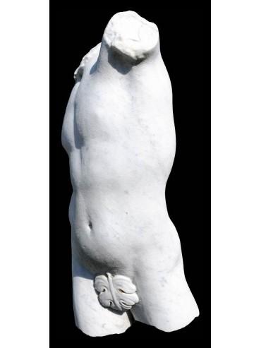 Torso del satiro in marmo bianco di carrara