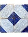 Ancient majolica tile - cobalt blue