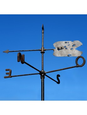 Tuscan antique windvane in WROUGHT IRON