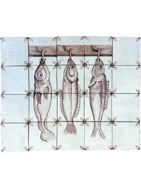 Pannello pesci 20 piastrelle manganese